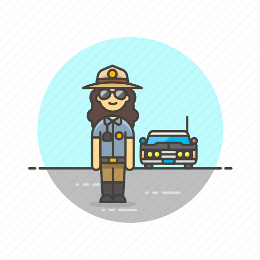 Car, cop, crime, patrol, police, sheriff, woman icon