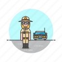 car, cop, crime, patrol, police, sheriff, vehicle, woman icon