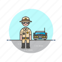 car, cop, crime, man, patrol, police, sheriff, vehicle icon