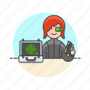 code, crime, gun, hacker, police, spy, undercover, woman icon