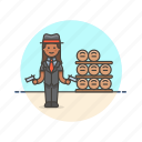 barrel, bodyguard, crime, gun, officer, police, woman icon