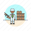 barrel, bodyguard, crime, formal, investigator, man, police, rifle icon