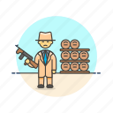 barrel, bodyguard, crime, formal, man, police, rifle, security icon