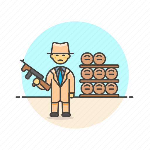 barrel, bodyguard, crime, formal, man, police, rifle, security icon