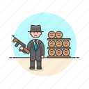 barrel, bodyguard, crime, man, police, rifle, security icon