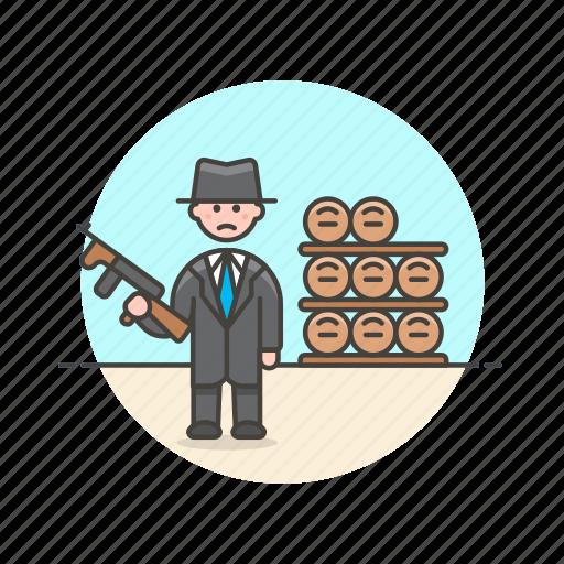 barrel, bodyguard, crime, man, police, rifle, security icon