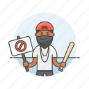 baseball, bat, crime, man, mask, placard, rebel, rioter icon