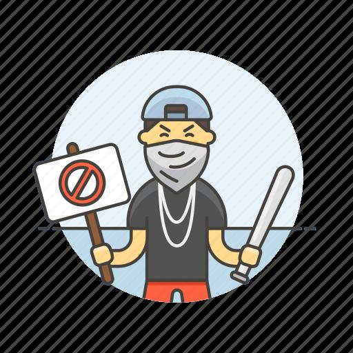 baseball, bat, block, crime, male, mask, placard, rioter icon