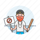 baseball, bat, crime, man, mask, placard, police, rioter icon
