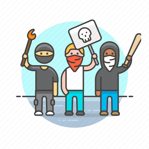 crime, crowd, mob, police, protest, rebels, rioters icon