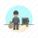 crime, man, money, police, rob, safe, steal, thief icon