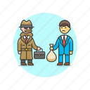 crime, deal, detective, exchange, incognito, police, transfer icon