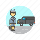 crime, detective, investigator, police, transport, van, woman icon