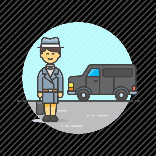 crime, detective, investigator, police, transport, van, woman icon