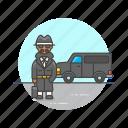 crime, detective, incognito, investigator, man, police, van icon