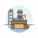 crime, desk, detective, investigator, man, office, police, work icon