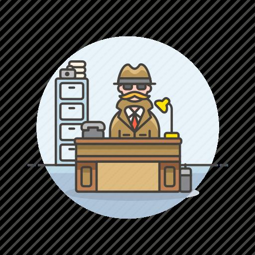 crime, desk, detective, investigator, man, office, police, work icon
