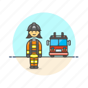crime, fire, firefighter, police, save, truck, woman icon