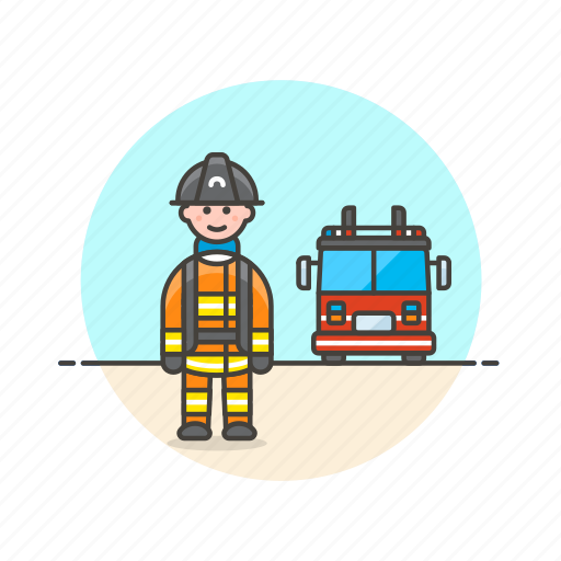 crime, fire, firefighter, man, police, save, truck icon