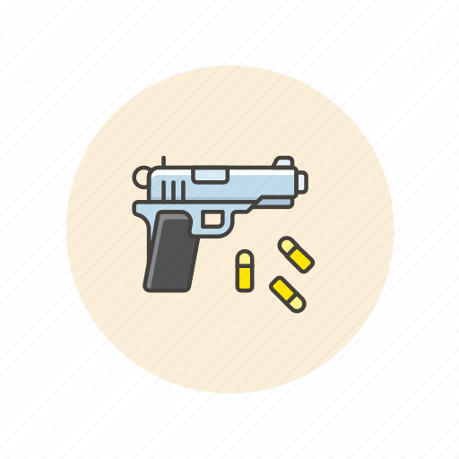 bullet, crime, handgun, police, protect, security, weapon icon