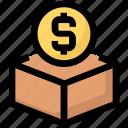 box, donation, funding, money icon