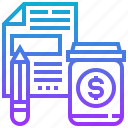 documents, investment, money, plan, valuation icon