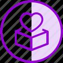 box, charity, donation, heart icon