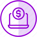 donation, funding, laptop, money, online payment icon