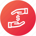 donation, funding, hands, money safe icon