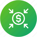 crowdfunding, funds, money, received icon