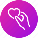 charity, giving, hand, heart icon