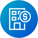 building, business, donation, funding, money icon