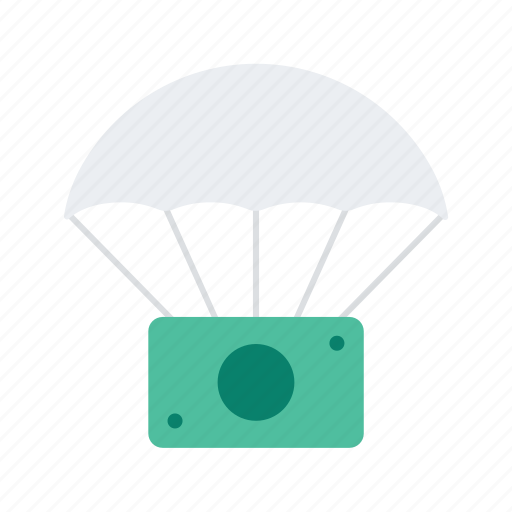 airdrop, crowd, crowdfunding, donation, funding, money, parachute icon