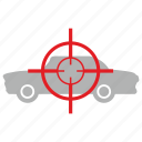 aim, ambassador, car, kill, target, transport icon