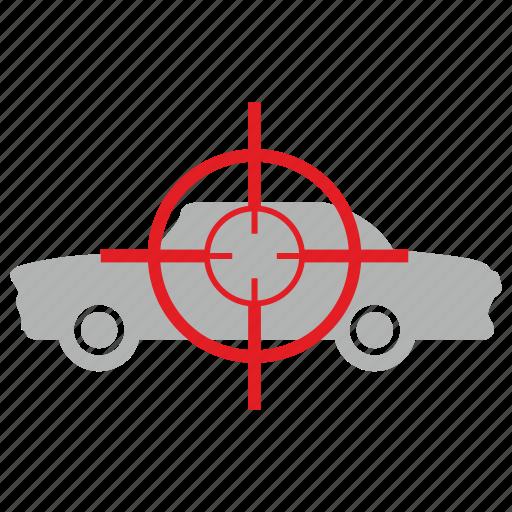 aim, ambassador, car, kill, target, transport icon