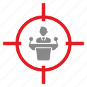 aim, ambassador, government, kill, person, target icon