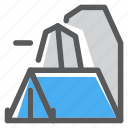adventure, camp, mountain, rock, survival, tent icon