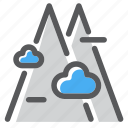 adventure, clouds, hiking, mount, mountain, nature, view icon