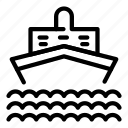 cruise, logo, naval, ship, silhouette, travel, water icon