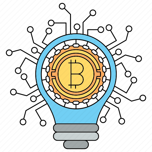bitcoin, bulb, cryptocurrency, idea, lamp, security icon