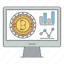 bitcoin, cryptocurrency, report, screen icon