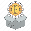 bitcoin, block, box, cryptocurrency, delivery, reward icon