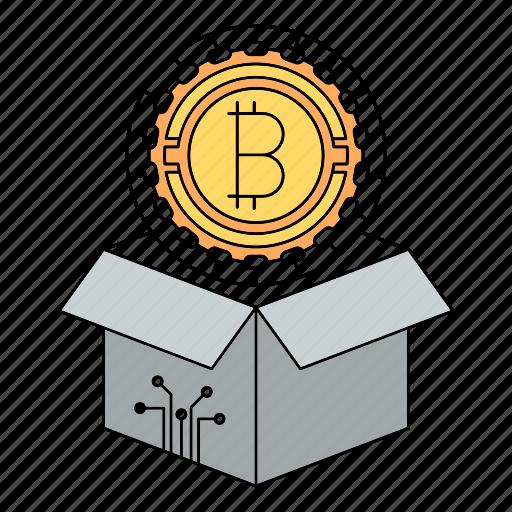 bitcoin, block, box, cryptocurrency, delivery, reward icon