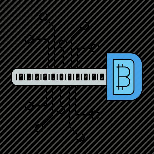bitcoin, cryptocurrency, digital, key icon