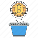 bitcoin, cryptocurrency, investment, plant icon
