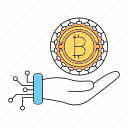 bitcoin, cryptocurrency, digital, investments icon