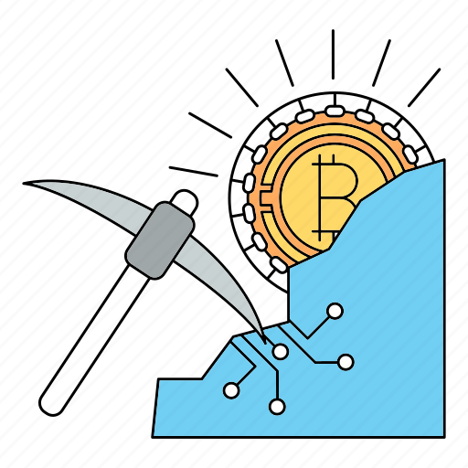 bitcoin, cryptocurrency, mining icon