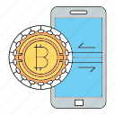 bitcoin, cryptocurrency, mobile, security, smartphone icon