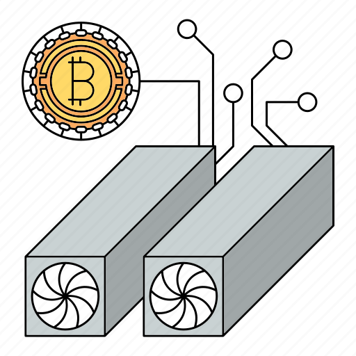 bitcoin, computer, cryptocurrency, hardware, modern, network, technology icon