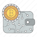bitcoin, cryptocurrency, save, wallet icon